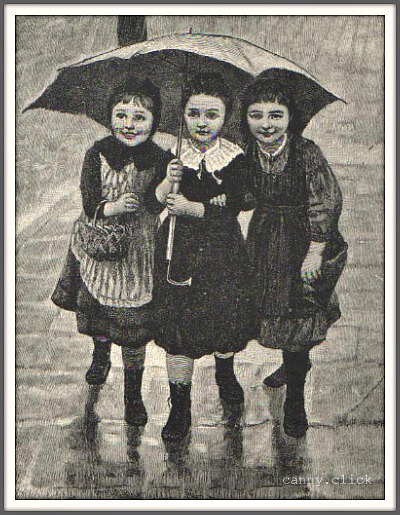 Three girls under umbrella