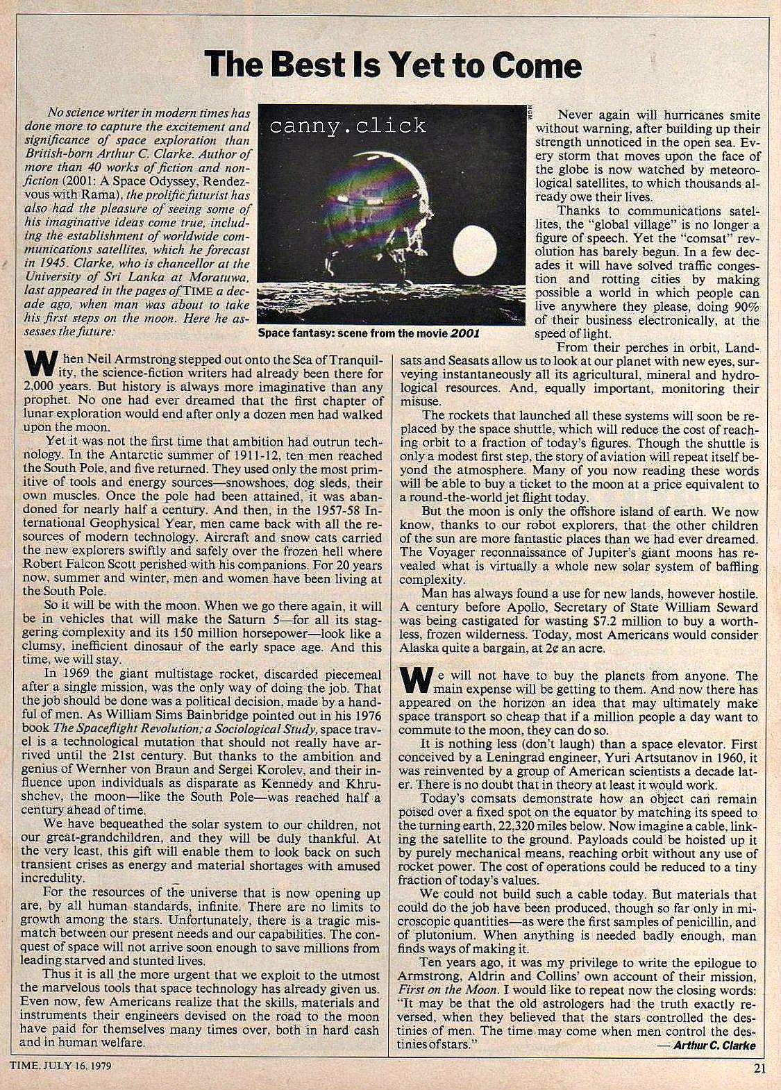 Arthur C. Clarke article