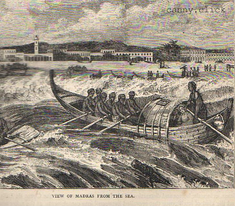 18th-century Madras from the sea