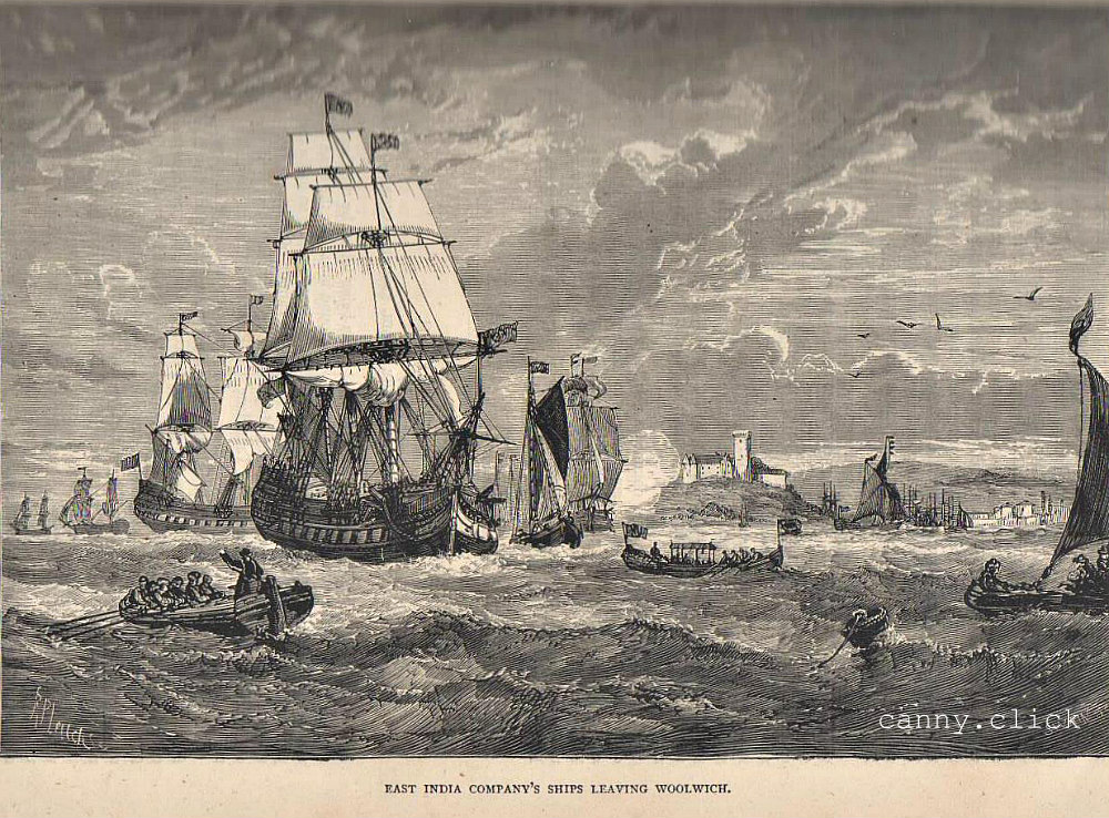East India Company ships leaving Woolwich