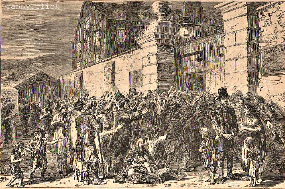 Starving peasants at a workhouse gate