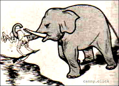 Indian elephant throws out British
