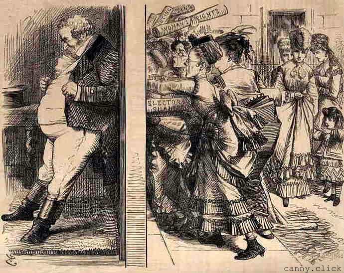 John Bull holds the door against women's suffrage