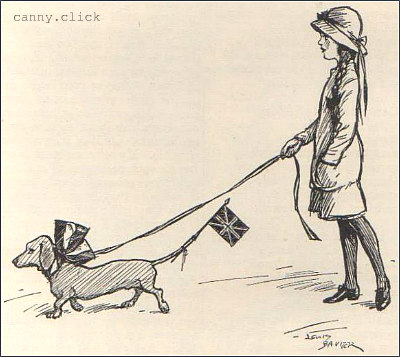 Patriotic dachshund, 1914