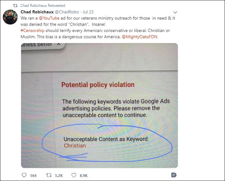 Google censors hashtag Christian